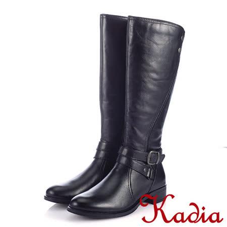 Kadia.皮帶金屬釦牛皮低跟騎士長靴-黑