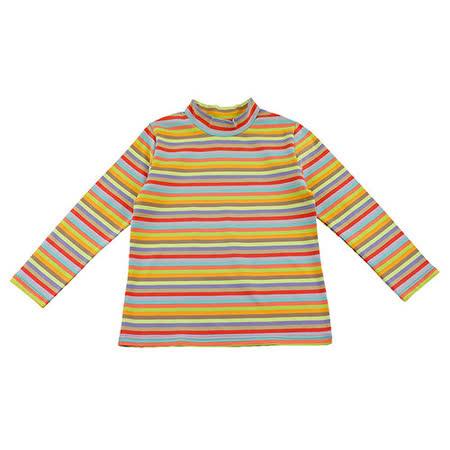 【愛的世界】SUPERKIDS 寬版微立領橫條紋長袖上衣/S號-台灣製-