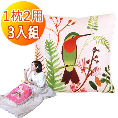 童趣插畫風<BR/>舒適兩用棉被抱枕/靠枕