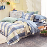 IN HOUSE-ALPHA-200織紗水洗棉-薄被套床包組(藍色-雙人)