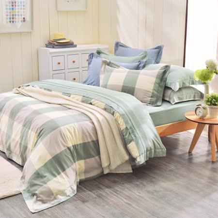 IN HOUSE-ALPHA-200織紗水洗棉-薄被套床包組(綠色-特大)