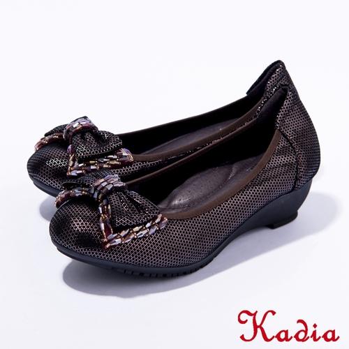 Kadia.真皮典雅蝴蝶結鑽飾包鞋 紫色