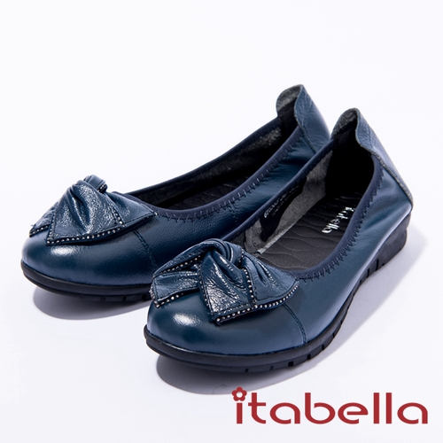 itabella.舒適通勤牛皮蝴蝶結包鞋 深藍色