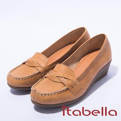 itabella.舒適簡約牛皮包鞋 棕色