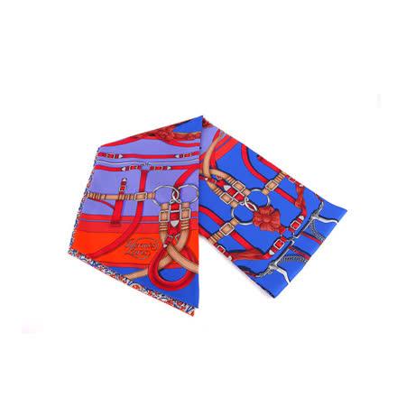 【HERMES】藍底皮帶圖騰 大TWILLY (藍色)