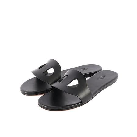 【HERMES】小牛皮豬鼻拖鞋(37號)(黑色)