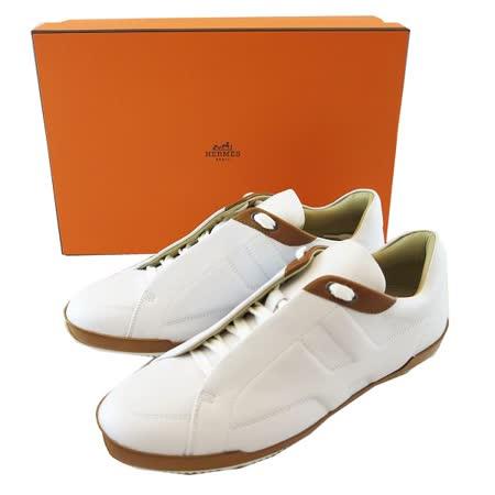 【HERMES】小牛皮 H logo 休閒鞋(白色)