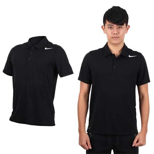 (男) NIKE 翻領短袖針織衫-立領 網球 POLO衫 黑白