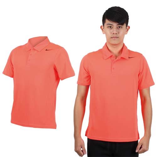 (男) NIKE 翻領短袖針織衫-立領 網球 POLO衫 螢光粉黑