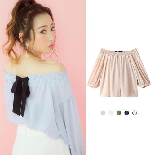 ANNA LUNA ~ViVi雜誌 平口後綁帶七分袖上衣 共五色F