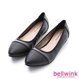 bellwink【B9504BK】日系皮革條紋尖頭平底鞋-黑色