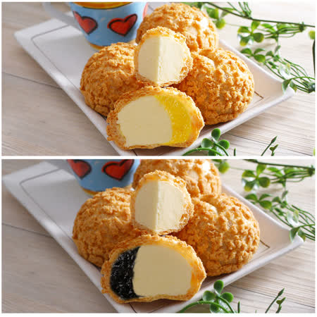 豆穌朋 鳳梨雙餡泡芙2盒(6入/盒)+ 藍莓雙餡泡芙2盒(6入/盒)