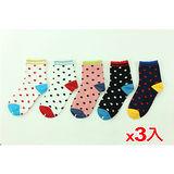 M&P 復古圓點女襪-白.紅點(22~24cm)*3雙組