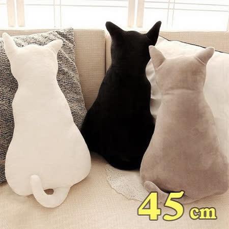 療癒系背影貓咪抱枕靠墊 45CM 白色