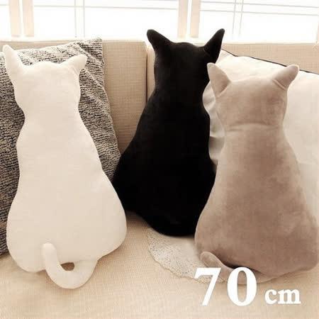 療癒系背影貓咪抱枕靠墊 70CM 白色