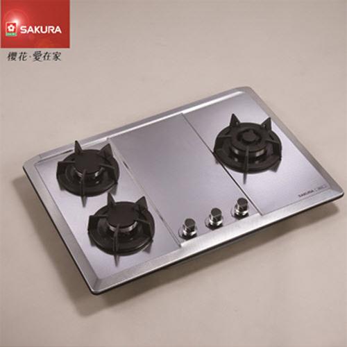 SAKURA櫻花 三口珍珠壓紋不鏽鋼檯面式瓦斯爐 G-2633(S) 桶裝瓦斯