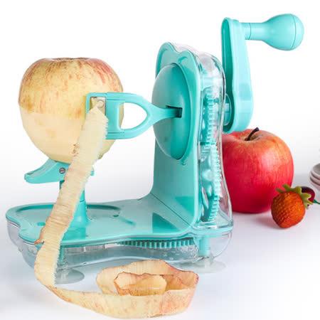 PUSH! 廚房用品手搖水果削皮器削蘋果削皮機器削皮刀D83-1藍色