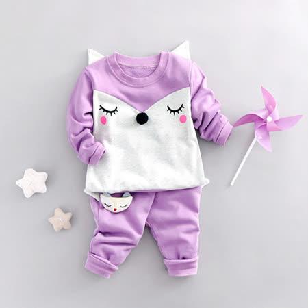 【Pink Pony】純棉羞羞臉休閒二件組外出服-紫色