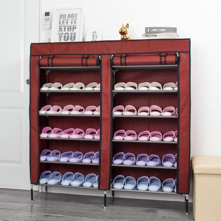 超值10入 超大雙排加寬12格簡易防塵組合式鞋櫃