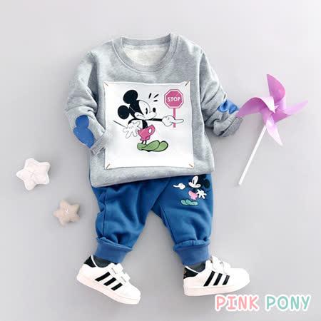 【Pink Pony】純棉米奇休閒二件組外出服-灰色