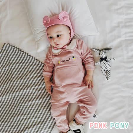 【Pink Pony】春季蝴蝶繡花包屁衣-粉色