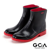 GOA 珍_撞色鬆緊式短筒雨靴-紅