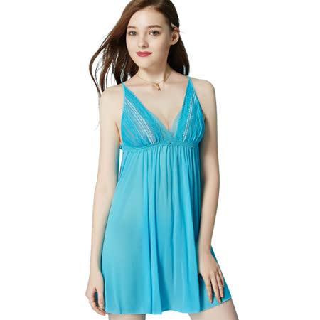 【思薇爾】海洋派對系列蕾絲性感連身小夜衣(沁波藍)
