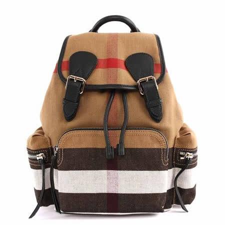 【BURBERRY】THE RUCKSACK CANVAS棉麻格紋拼皮革後背包(中款) (棕色)
