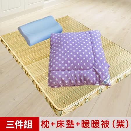 【米夢家居】台灣製造-冬夏兩用竹青純棉單人床墊+記憶枕+防蹣抗菌暖暖被(紫)外宿熱賣三件組