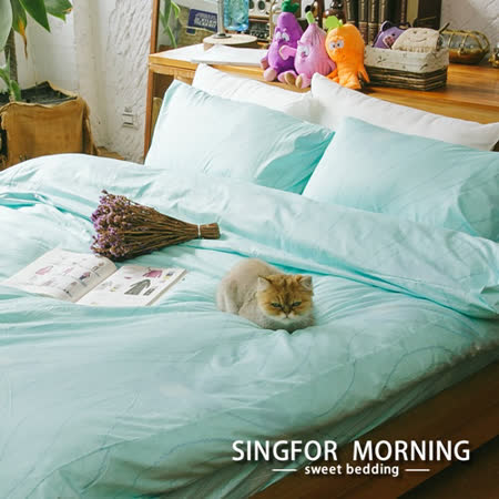 幸福晨光《湖畔春光》雙人加大四件式100%精梳棉床包被套組