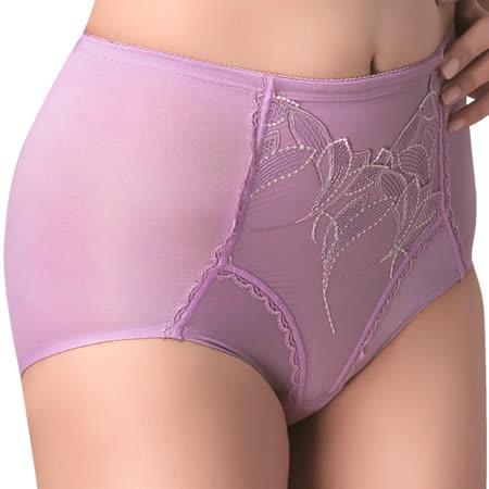【思薇爾】羽霓精靈系列M-XXL蕾絲刺繡高腰三角修飾褲(霓煙紫)