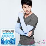 【BeautyFocus】台灣製抗UV涼感防曬運動袖套/加長款-24110水藍