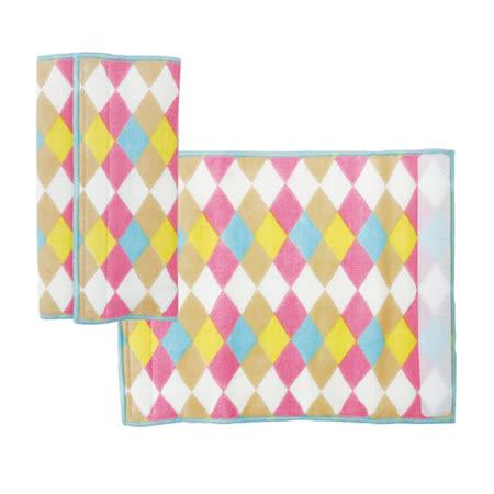 日本Pollito棉紗磨牙口水墊-粉彩菱格