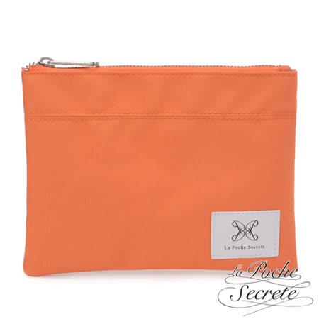 La Poche Secrete 率性韓風自在休閒帆布漾彩收納萬用化妝包 粉橘色