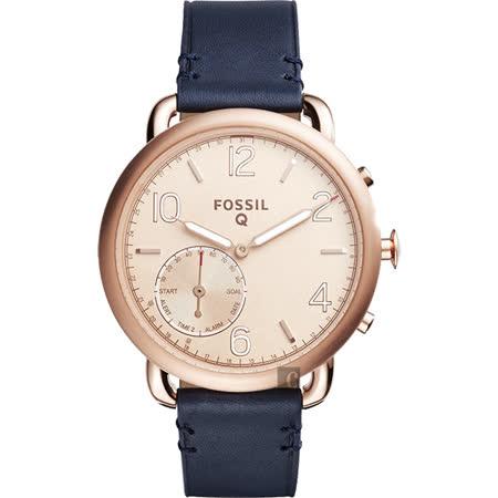 FOSSIL Q Tailor 智慧型多功能腕錶-玫瑰金x藍/40mm FTW1128