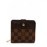 【LV】棋盤格 拉鍊小零錢包 短夾 (咖啡色)