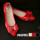 《JOYCE》優雅蝴蝶結造型漆皮平底鞋