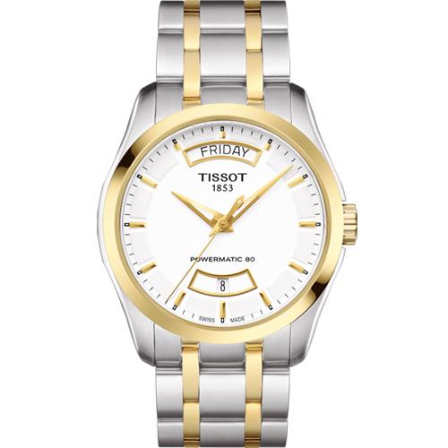 TISSOT 天梭 建構師 Powermatic 80 機械腕錶~白x雙色39mm T03