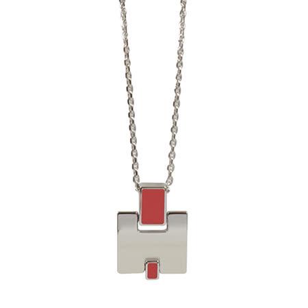 HERMES Eileen 時尚配件經典H LOGO銀飾項鍊.銀/紅