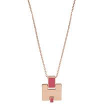 HERMES Eileen 時尚配件經典H LOGO銀飾項鍊.玫瑰金/桃