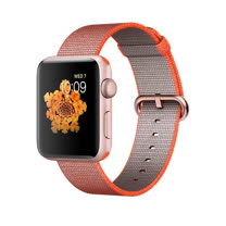Apple Watch Series 2 智慧型手錶 (42mm) /A ,42公釐 玫瑰金色鋁金屬錶殼搭亮橙色配灰色尼龍織紋錶帶 (MNPM2 TA/A)