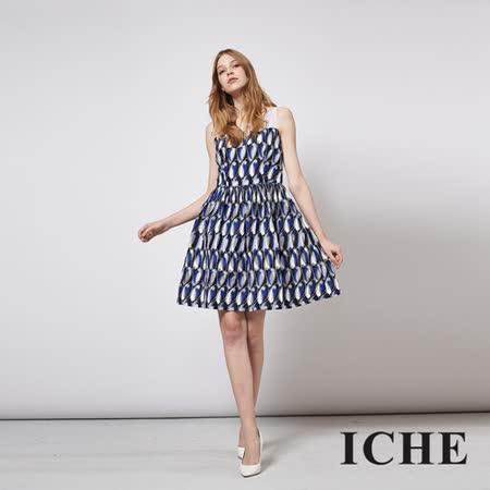 ICHE 衣哲 立體提花釘珠馬甲拼接禮服洋裝