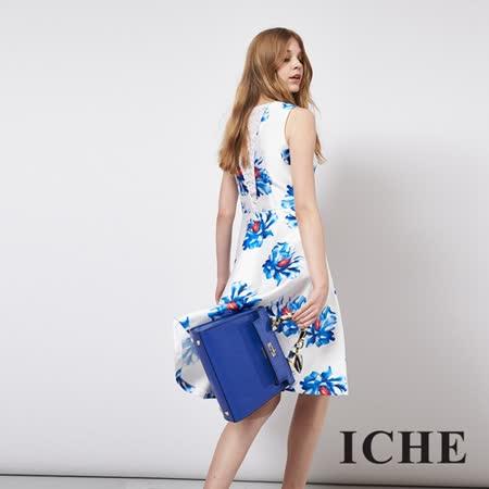 ICHE 衣哲 立體提花蕾絲拼接造型禮服洋裝