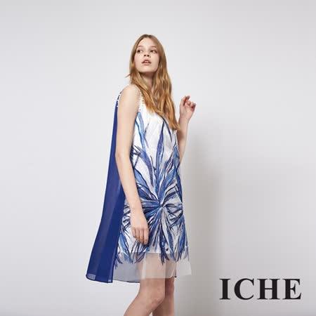 ICHE 衣哲 立體印花釘珠拼接造型禮服洋裝