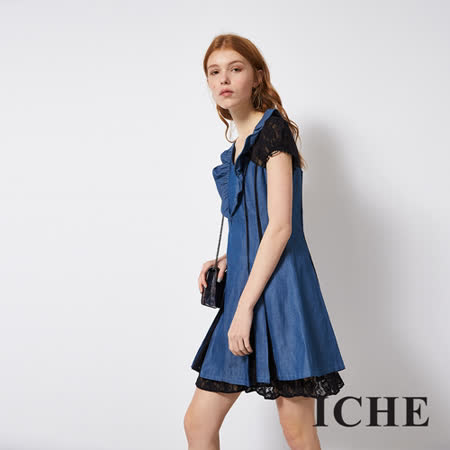 ICHE 衣哲 蕾絲拼接牛仔單寧造型洋裝