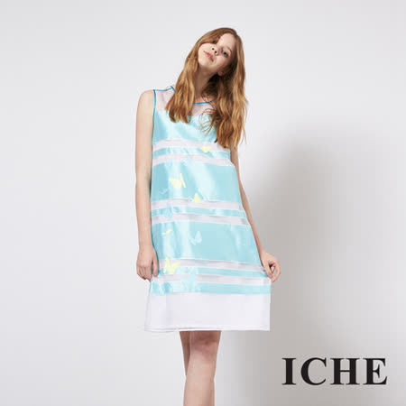 ICHE 衣哲 立體提花府綢拼接造型禮服洋裝