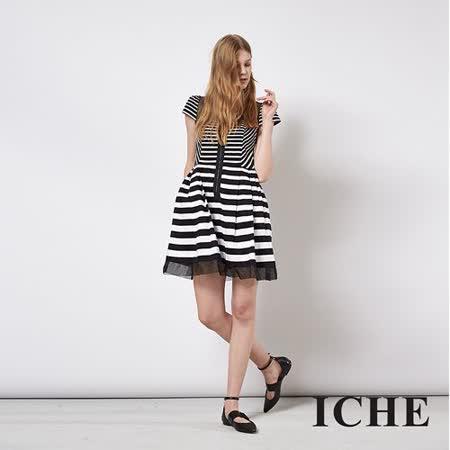 ICHE 衣哲 黑白條紋拼接拉鍊造型洋裝
