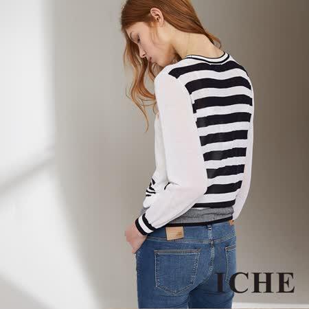 ICHE 衣哲 條紋拼接徽章造型針織外套 兩色