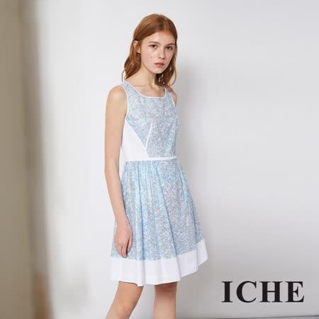 ICHE 衣哲 光澤亮面拼接造型藍洋裝