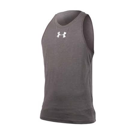 (男) UNDER ARMOUR UA  HG能量棉圓領籃球背心-運動背心 灰銀